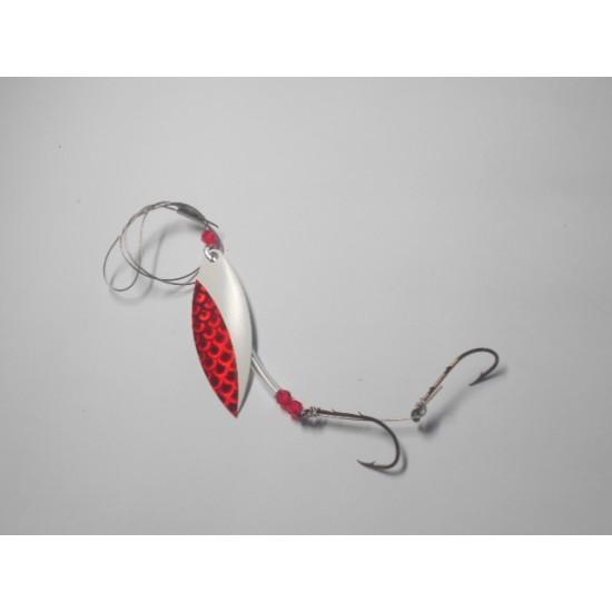 Cuillère tournante style willowleaf #4 moitié Blanche/Moitié rouge sur file d'acier 20 livres test , des produits Magic L.A.